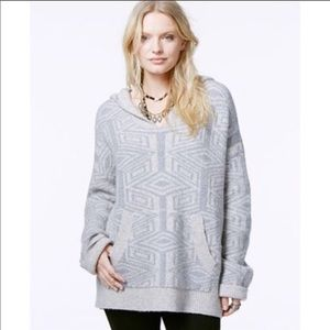 Free People Six Degrees Print Wool Hooded Sweater